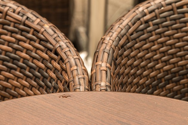 Wicker Chairs By Wooden Table