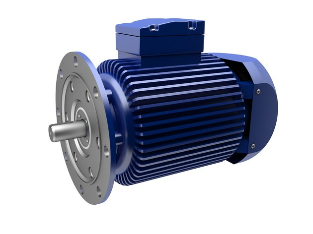 A blue and silver electric motor on a white background