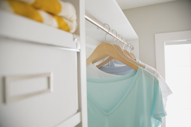 A working garment steamer helps get wrinkles out of clothing.