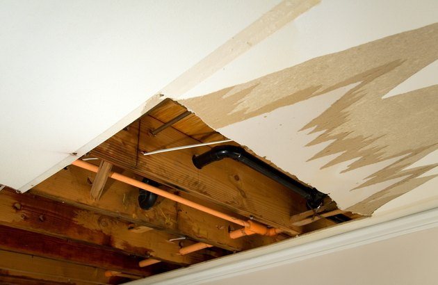 Damage caused by water leaking through the ceiling