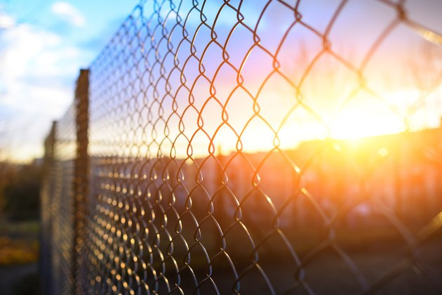 fence with metal grid in perspective