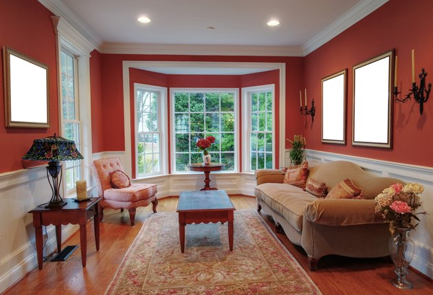 Living room interior with bay window.