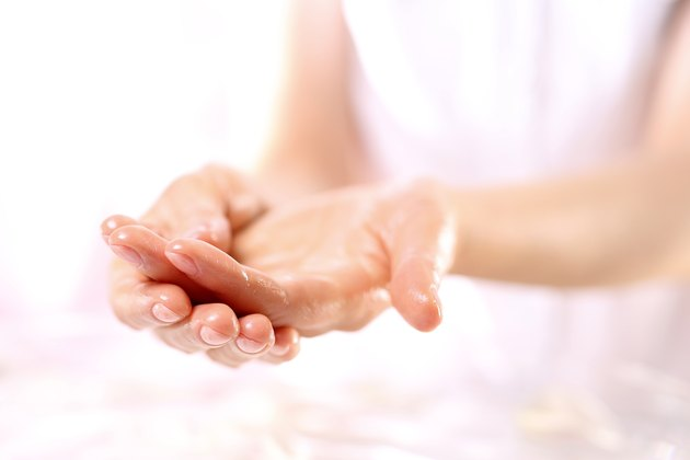 Paraffin hand treatment, beauty salon