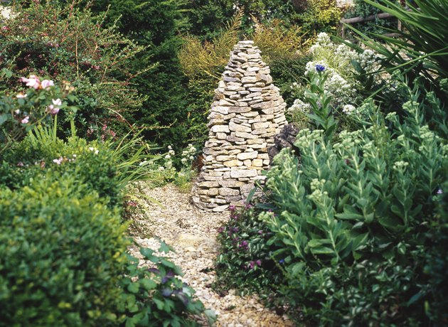 Cotswold stone cairn garden feature