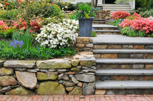 Stone Wall, Steps and Planter on Colorful Garden