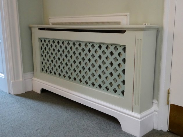 Image of wooden radiator cover / cabinet, painted fretwork grille mesh-screen