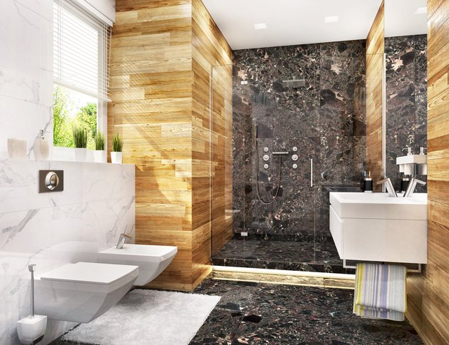 Modern bathroom with large shower and window