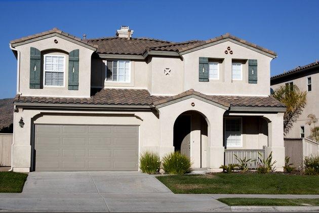 Stucco Home Exterior and  Blue Sky