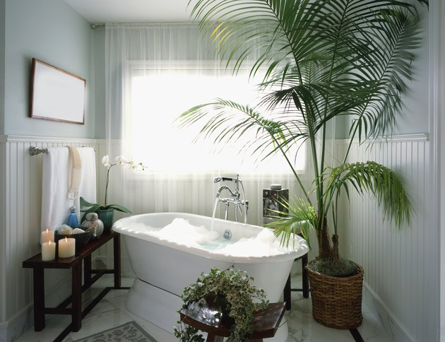 Bubble bath with potted plants