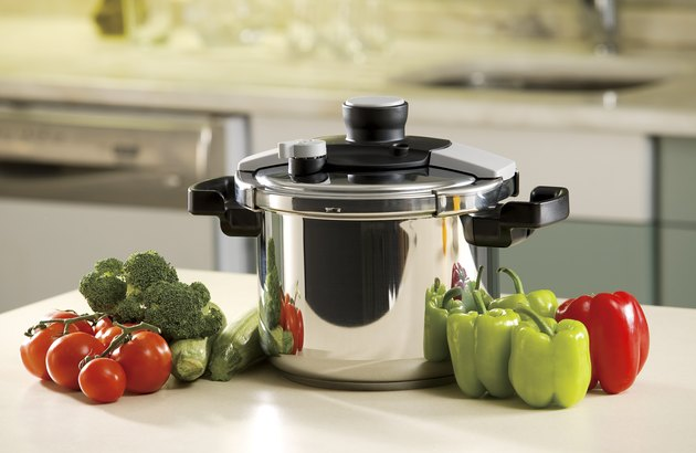 pressure cooker and vegetables