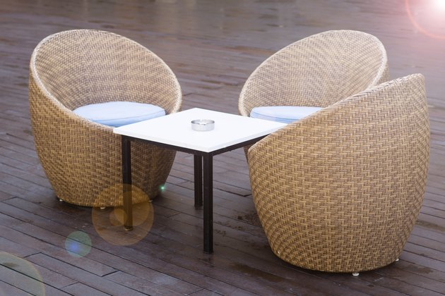 Outdoor furniture on wood resort terrace