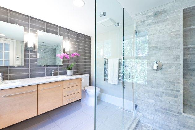 Contemporary Bathroom Design with Glass Shower Stall