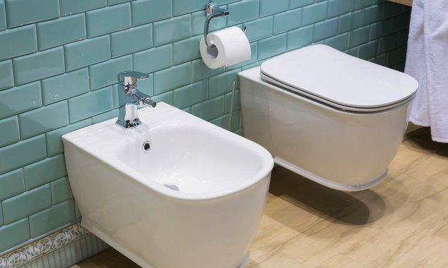 bathroom interior: toilet and bidet