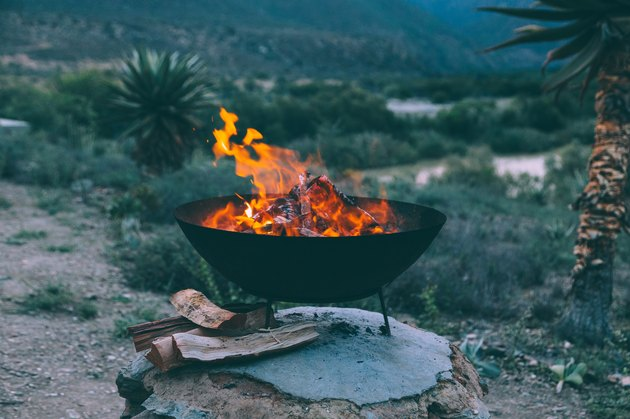 Firewood Burning In Fire Pit