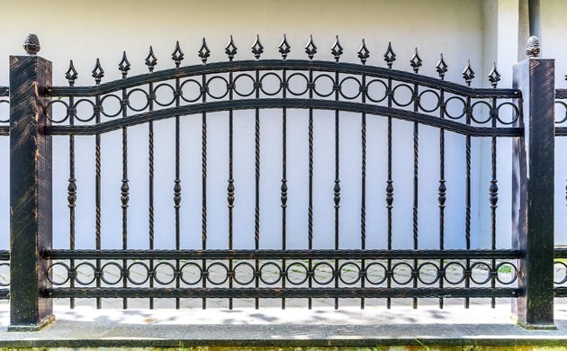 black wrought iron fence