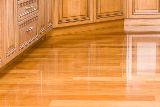 Freshly Stained Kitchen Hardwood Floor