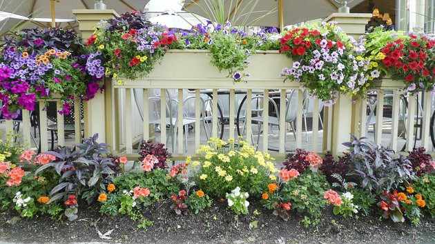 A porch with colorful flowers