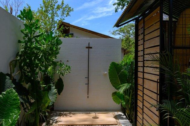 Outdoor shower at a modern home