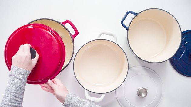 Red, white, and blue enameled cast iron covered dutch oven
