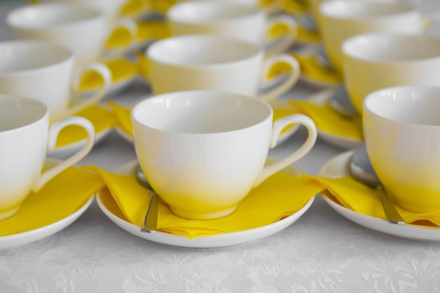 A couple of cups and saucers in the cafe.