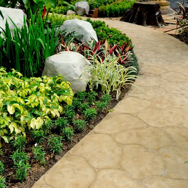 Stone walkway in garden.