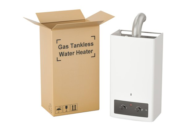 Gas tankless water heater with cardboard box, delivery concept. 3D rendering
