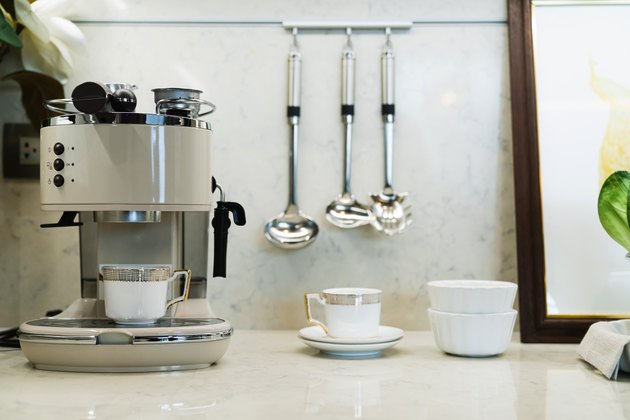 home interior counter marble top with kitchen item coffee maker and home decorating