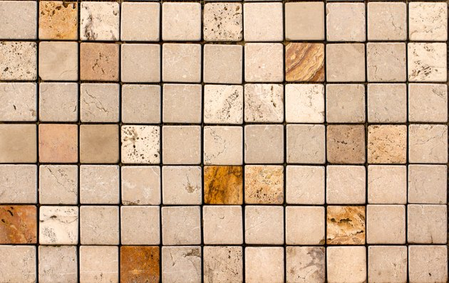 Travertine tile ceramic, mosaic square design seamless texture