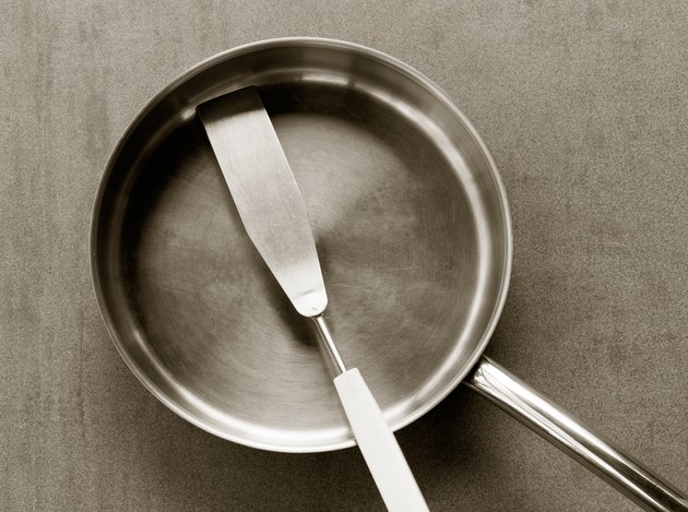 empty stainless steel frying pan and spatula