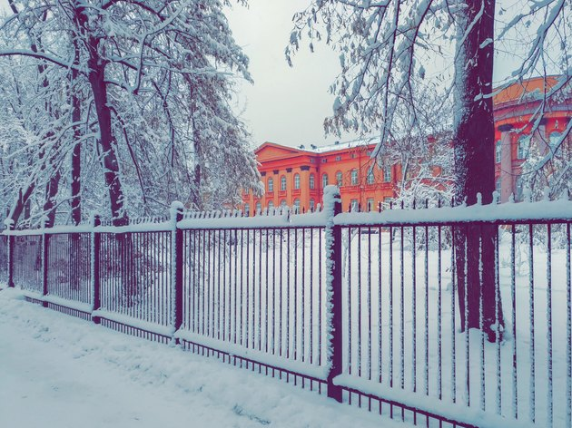 Red building of Kiev State University snow-covered