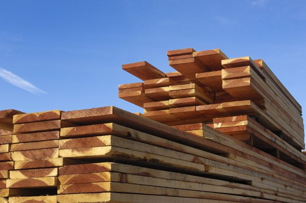 Close-up Stack of Just Milled Redwood Lumber