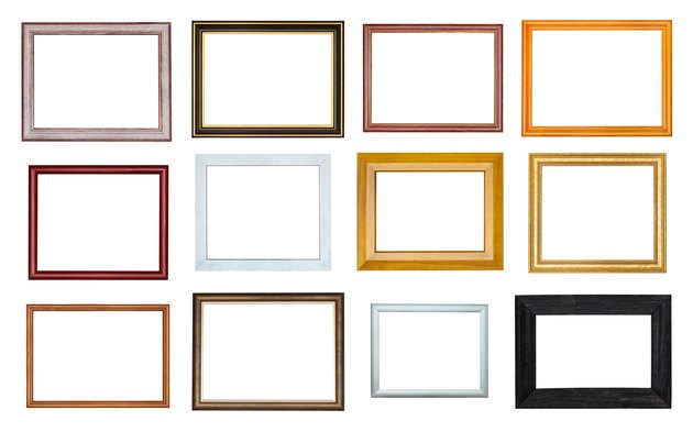 collection of various empty wooden picture frames