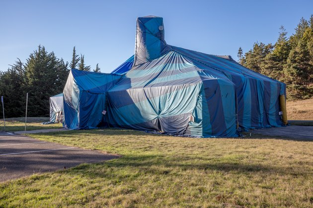 Fumigation termite bug tent wrapped covereing on large house building