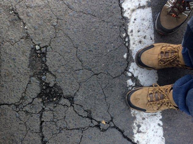 Cracked ground.