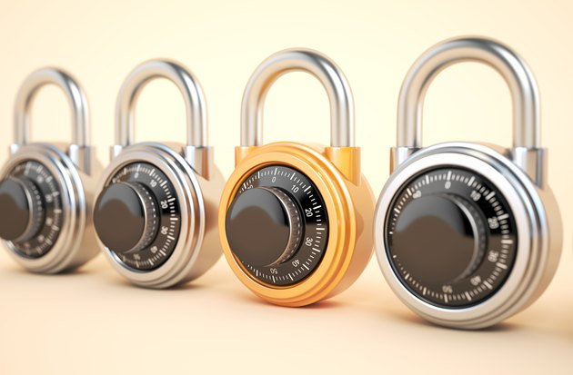 Orange combination lock with silver padlocks