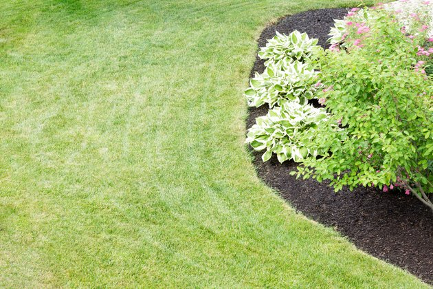 Mulched flowerbed in a neatly manicured green lawn