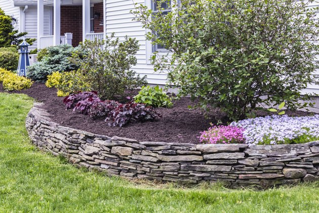 New Mulch Behind Landscaped Garden Terrace Wall