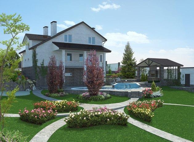 Poolside horticultural background, 3d rendering