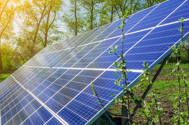 Solar panel produces green, environmentally friendly energy from the sun