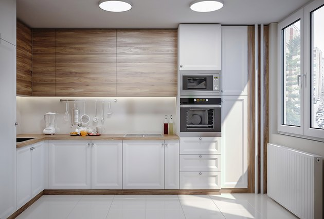 Sunny white modern domestic kitchen
