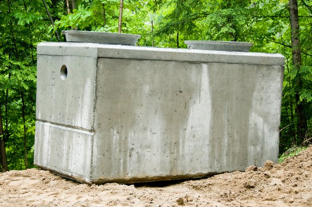 Concrete septic tank at construction site