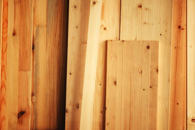 Pine wood floorboard planks
