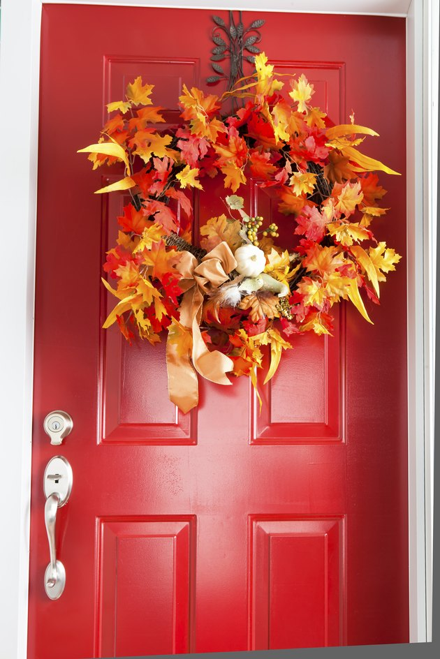 Autumn red door.