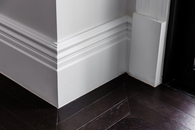 white luxury moulding floor with dark wooden floor interior detain concept