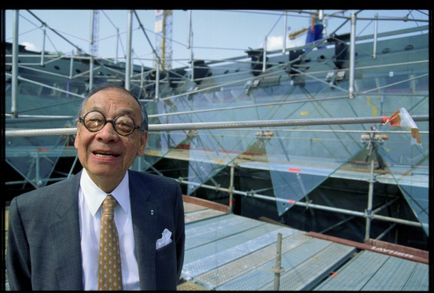 I.M. Pei at the Louvre Pyramid Construction
