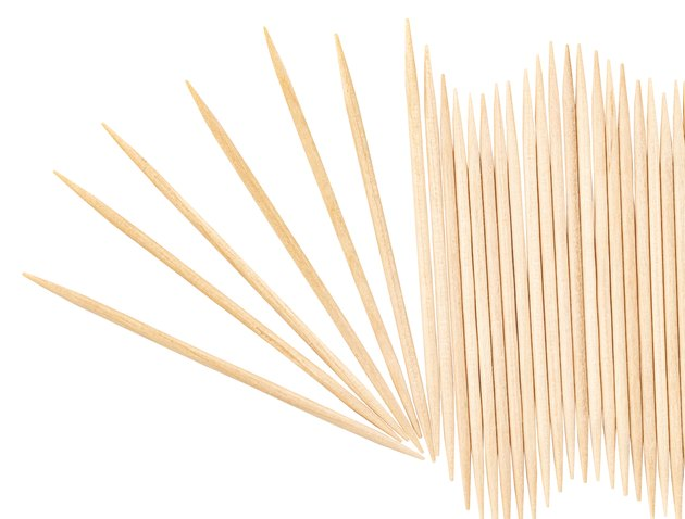 Wooden toothpicks isolated on white background with clipping path