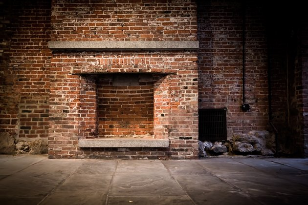 Brick wall and fireplace