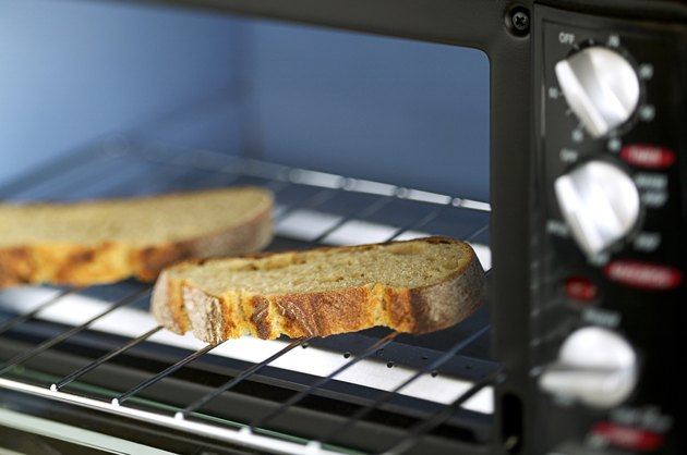 Toaster oven with slices of bread