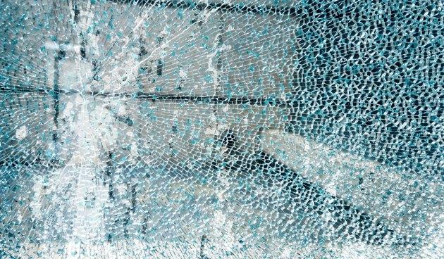 Close-up of broken window glass