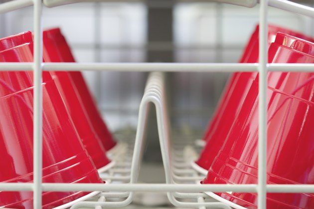 Disposable plastic cups in dishwasher